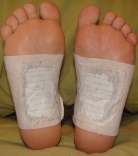 Detoxing foot patches in the morning